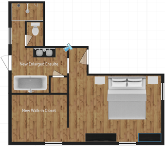 updated layout of master suite