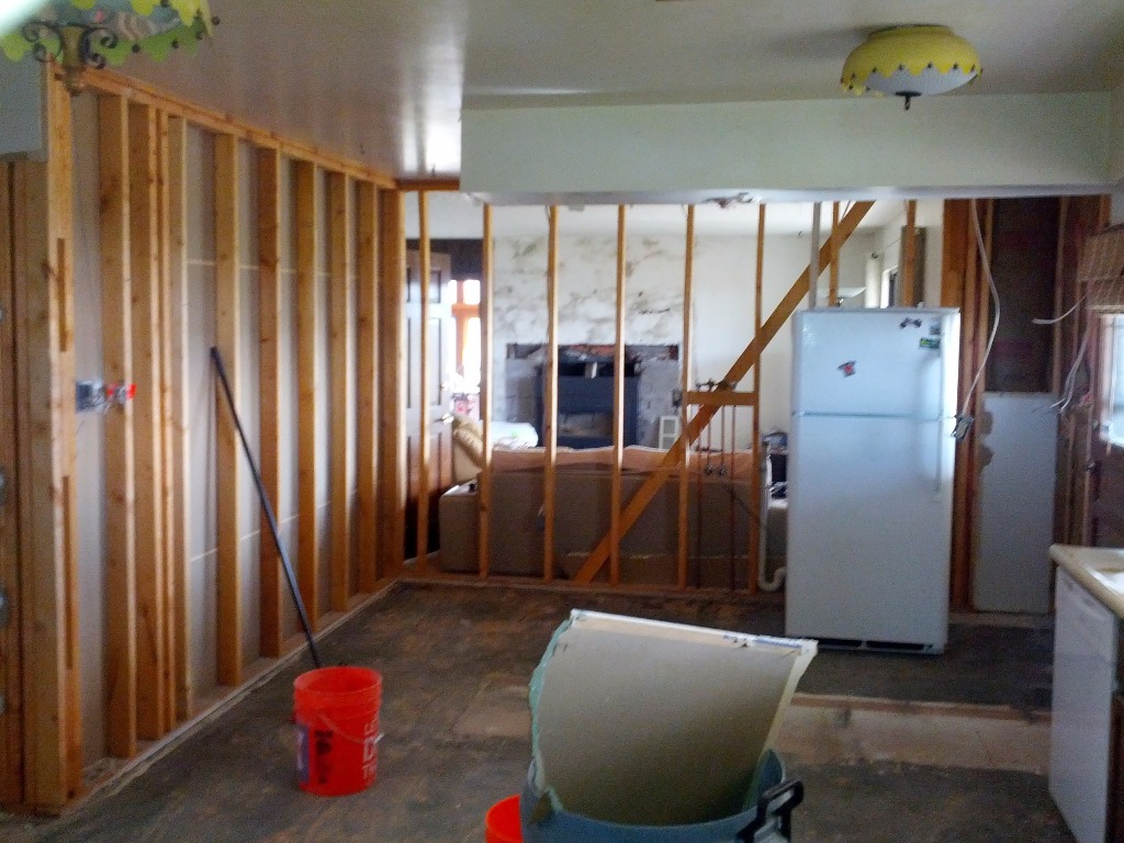 Looking into living room before the walls are g...