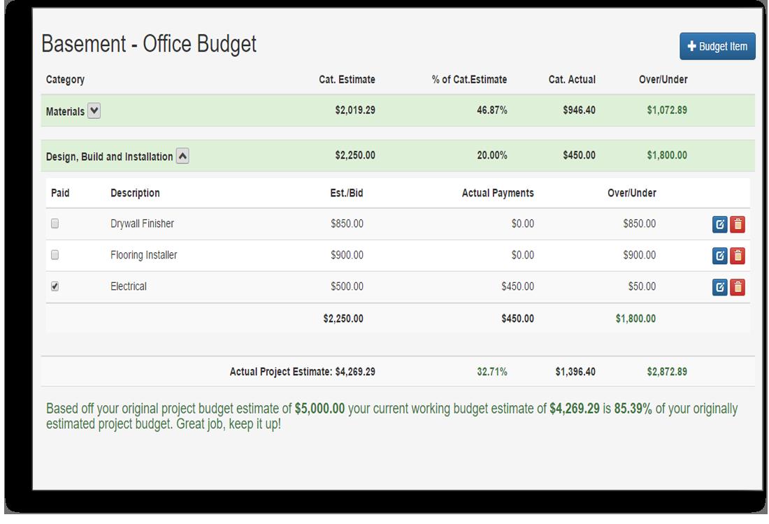 Remodel Budget tool snapshot