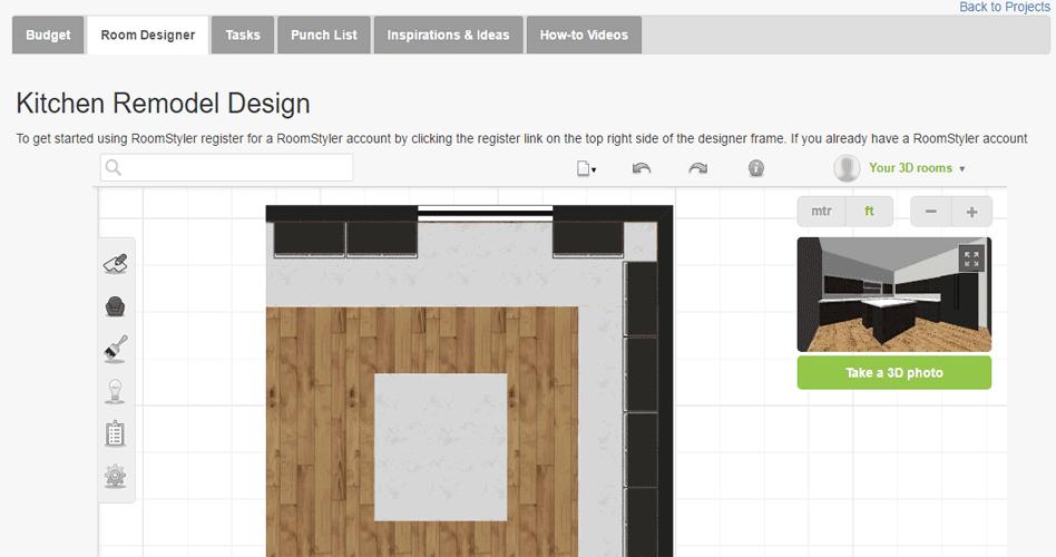Remodel Design tool snapshot